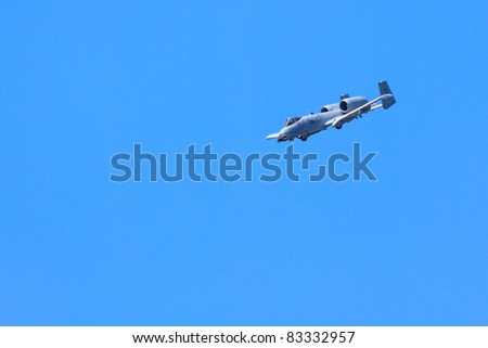ROCHESTER, NY - JULY 17:  United States Air force A-10 Thunderbolt ground attack jet aircraft making a simulated strafing run at an airshow in Rochester, New York on July 17, 2011