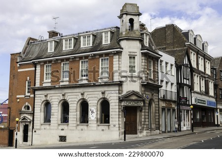 ROCHESTER, THE GREAT BRITAIN -MAY 14 2014: One of the old typical, English buildings  in Kent area on 14th of May 2014 in ROCHESTER, THE GREAT BRITAIN  - stock photo