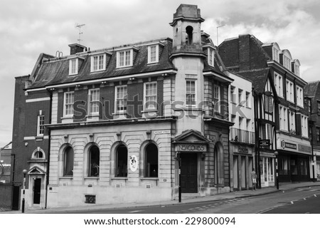 ROCHESTER, THE GREAT BRITAIN -MAY 14 2014: One of the old typical, English buildings  in Kent area on 14th of May 2014 in ROCHESTER, THE GREAT BRITAIN (black and white) - stock photo