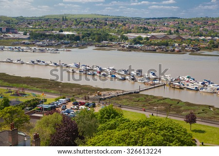 ROCHESTER, UK - MAY 16, 2015: Landscape around of Rochester city include river Kent and yacht club with lots of speed boats and yachts