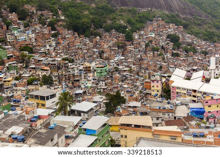 ROCINHA, RIO DE JANEIRO, BRAZIL - OCTOBER 12: general view of Rocinha,, the biggest favela in the country, located in Rio de Janeiro, Brazil on October 12, 2015.