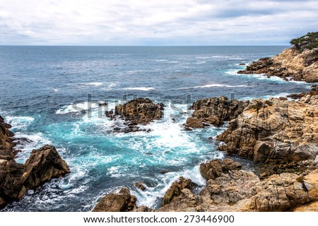 rock and geological formations along the rugged Big Sur coastline, near Monterey, CA. on the California Central Coast - stock photo
