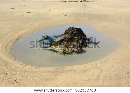 Rock and pool of seawater on sandy beach in Newquay, Cornwall, England - stock photo