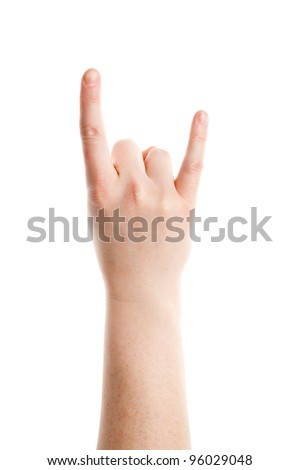 Rock and Roll gesture of female hand isolated on white background - stock photo