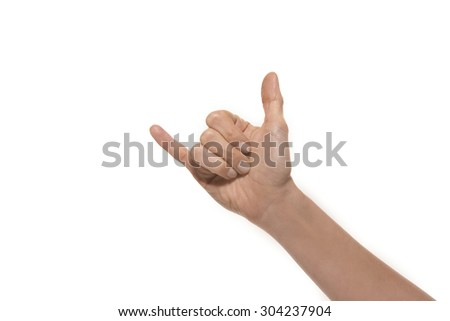 Rock and roll hand gesture - isolated - stock photo