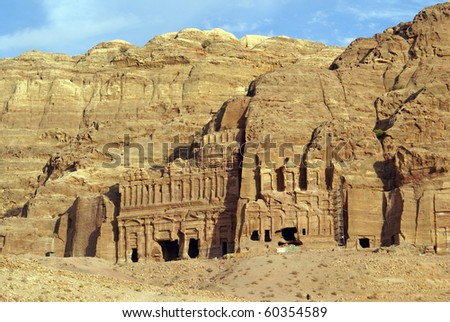 Rock and royal tombs in Petra, Jordan - stock photo