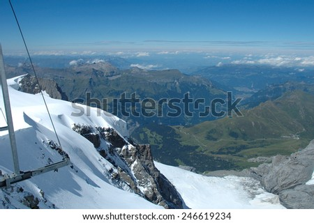 Rock and snow view from Jungfraujoch pass in Alps in Switzerland