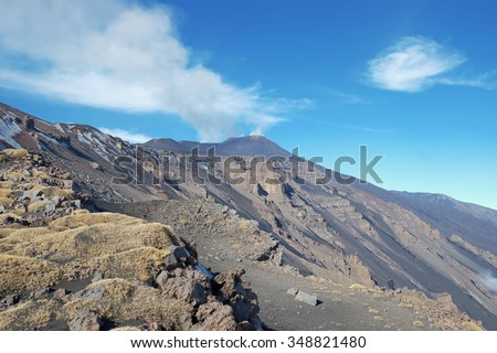 rock and volcanic ash of slope Montagnola Mount and active Sud-Est Crater of Etna Volcano, Sicily   - stock photo
