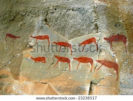 rock art in battle cave, drakensberg mountains - stock photo