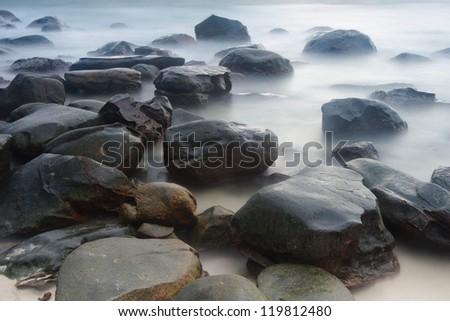 Rock beach, Kood island, Thailand - stock photo