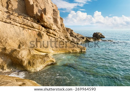 Rock beach with sea - stock photo