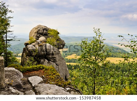 Rock called APE in Table Mountains (Gory Stolowe). Poland, Europe - stock photo