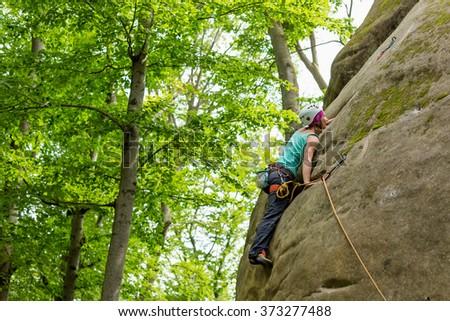 Rock climbing - stock photo