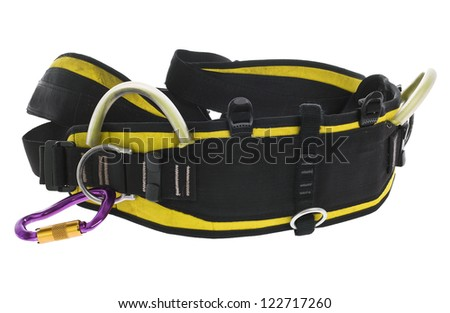 rock climbing harness and carabiner isolated on white