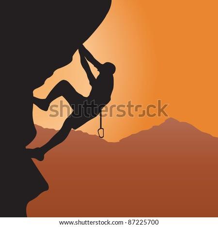 Rock climbing. Raster illustration for you design - stock photo
