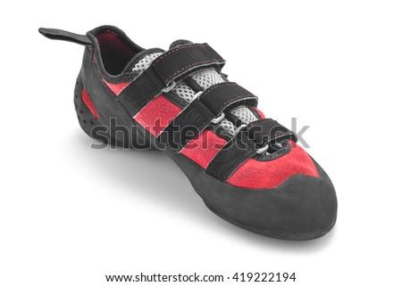 rock climbing shoe isolated on white - stock photo