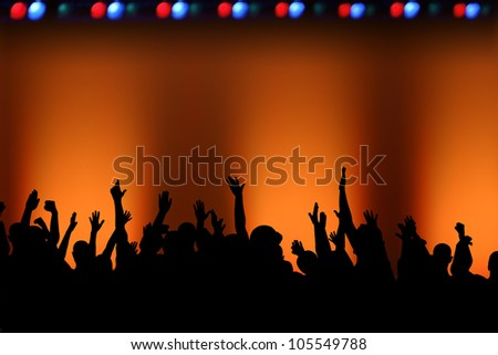 Rock concert concept, with an empty stage and plenty of copy space. - stock photo