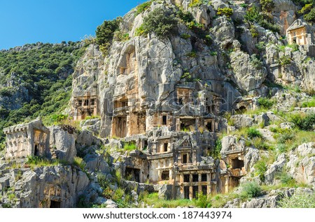 Rock-cut tombs in Myra (Demre), Turkey - stock photo