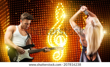 rock duo on stage - stock photo