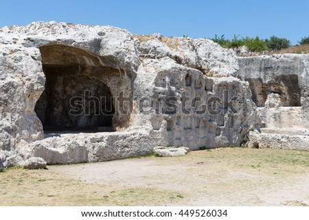 Rock dwellings at Archaeological Park Neapolis at Syracusa, Sicily Italy