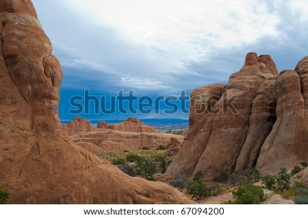 Rock Fins in Arches National Monument, Moab Utah - stock photo