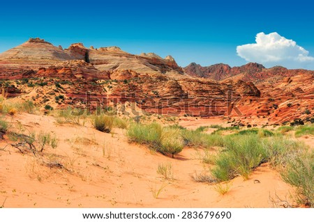 Rock Formation at North Coyote Buttes at the Utah/Arizona Border - stock photo