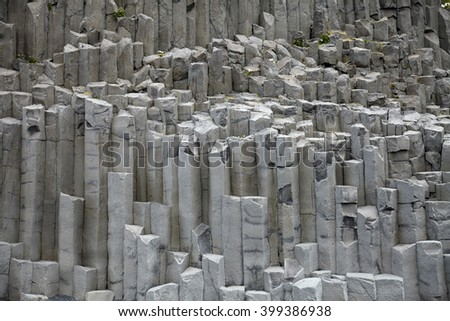 Rock formation at Reynisdrangar, near Vik in the southern part of Iceland - stock photo