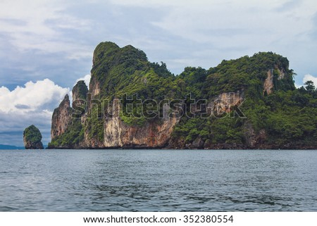 Rock formation in the Andaman Sea on the way to Island Paradise - Thailand