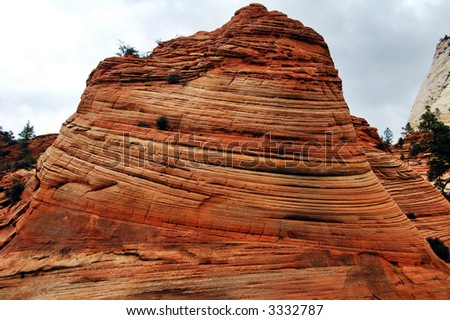 rock formation in Zion National Park - stock photo