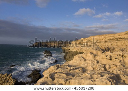 Rock Formation, limestone rock on the cliffs at fishing Ajuy, Fuerteventura, Canary Islands, Spain, Europe