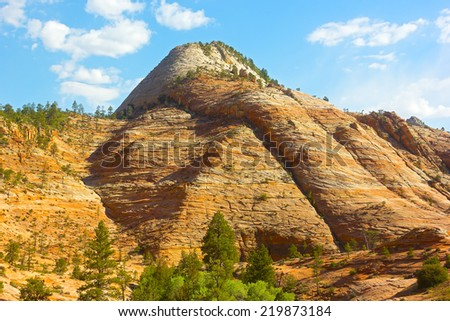 Rock formation of Zion National Park before sunset. Vertical rock formation in Zion National Park - stock photo