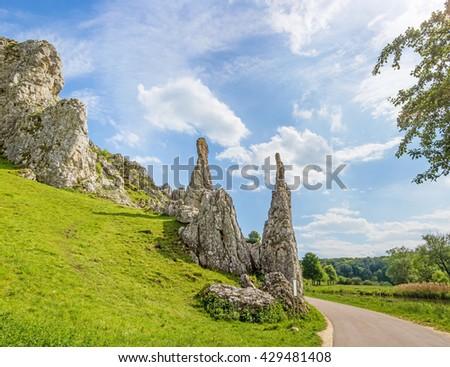"Rock formation ""Steinerne Jungfrauen"" in valley Eselsburger Tal near river Brenz - jewel of the swabian alps, meadow in front - stock photo"