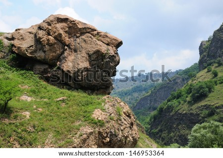 Rock formation that resembles a human profile - stock photo