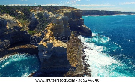 Rock formations along the Great Ocean Road coastline, Australia. - stock photo