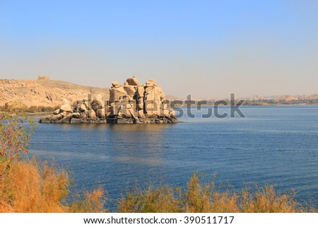 Rock formations along the Nile River in Aswan, Egypt