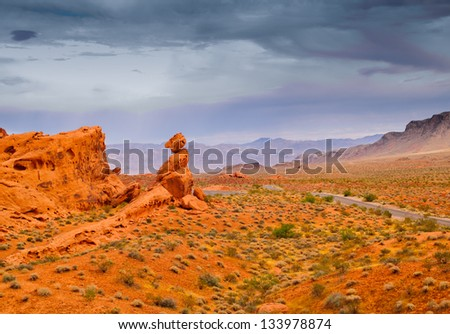 Rock formations and the road in the Valley of Fire in Nevada