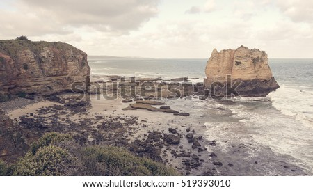 Rock formations at Aireys Inlet, Great Ocean Road in Australia