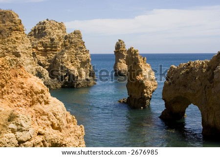 Rock formations at Ponta da Piedade, near Lagos, Portugal in the Algarve.
