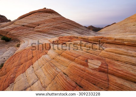 Rock Formations at Yant Flat in southern Utah at dawn.  - stock photo