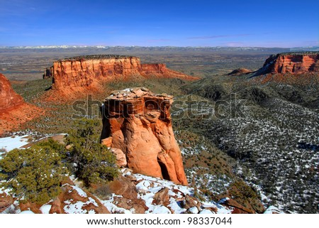Rock formations dominate the landscape at Colorado National Monument - stock photo