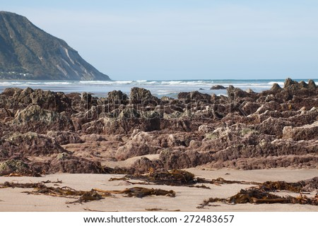 rock formations exposed at low tide, Makarori Beach, Gisborne, East Coast, New Zealand