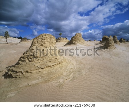 Rock formations in desert - stock photo