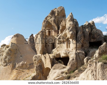 Rock formations in Goreme National Park . Cappadocia.Turkey - stock photo