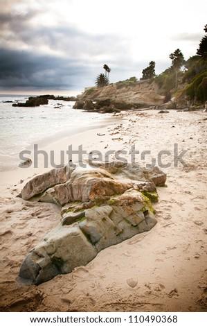Rock formations in Laguna Beach, California - stock photo
