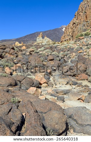 Rock formations in Parque Nacional del Teide, in the back Pico del Teide, Tenerife, Canary Islands, Spain.