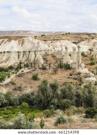 Rock formations in the Love Valley hiking path in Cappadocia