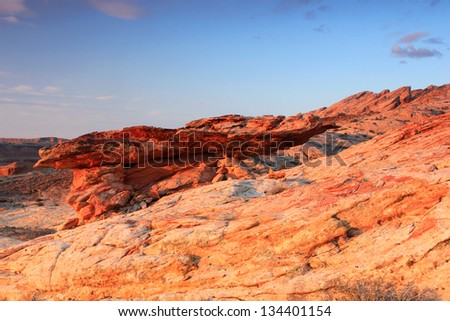 Rock formations in the Utah desert, USA. - stock photo
