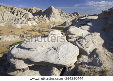 Rock formations in Toadstool Geologic Park, a region of badlands formed on the flank of the Pine Ridge Escarpment near Crawford, NE, the far Northwest of state - stock photo