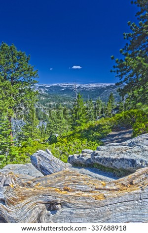 Rock Formations in Yosemite National Park in California, USA. HDR Image. Vertical Composition - stock photo