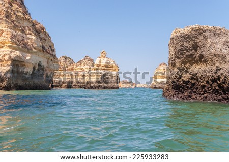 Rock formations near Lagos in Portugal seen from the water
